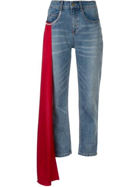 Distressed Denim With Rouge Drape