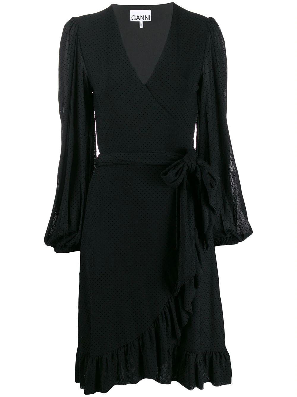 Dot Mesh Wrap Tie Dress Item # T2498
