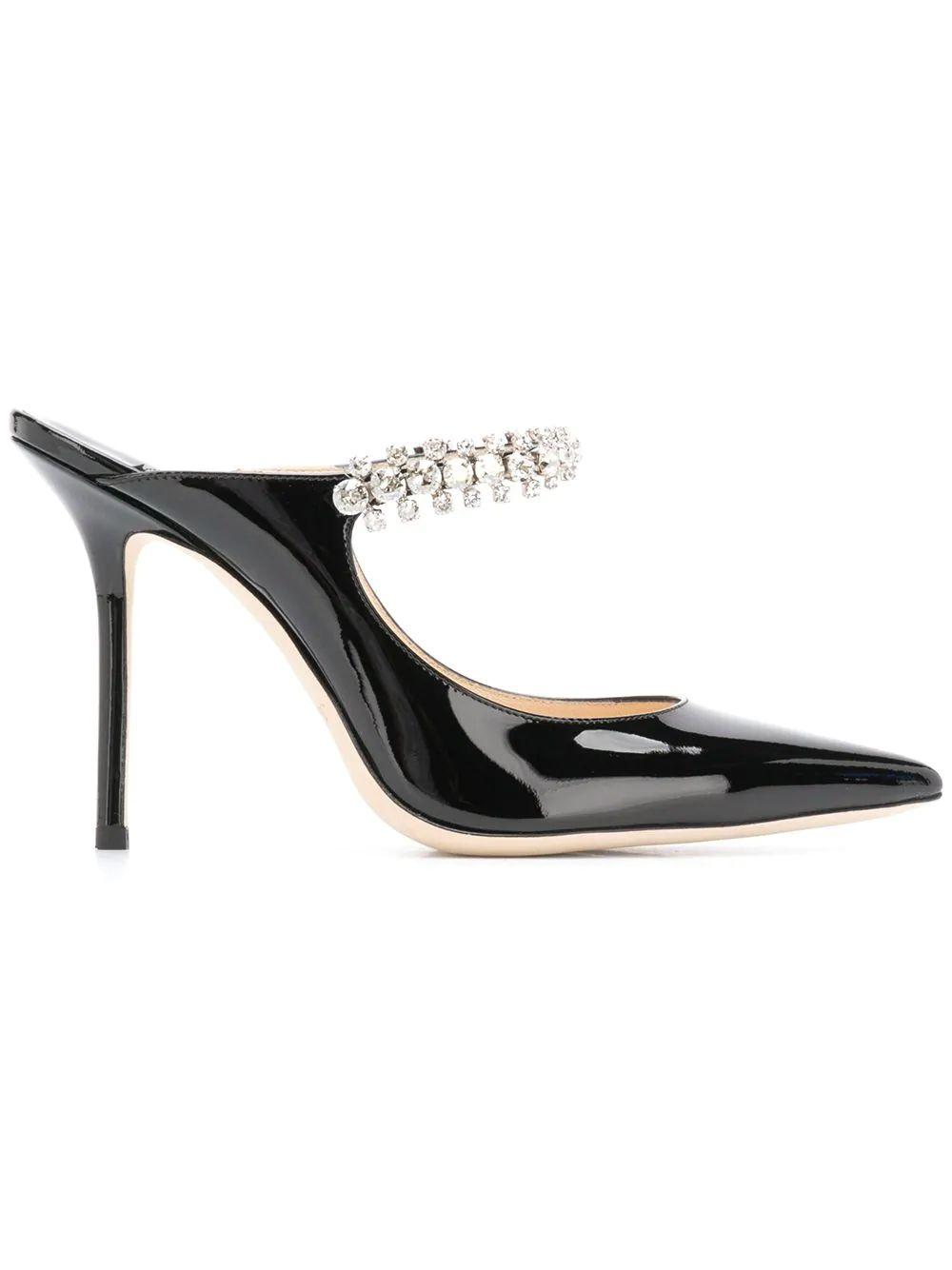 Patent 100mm Mule With Crystal Strap