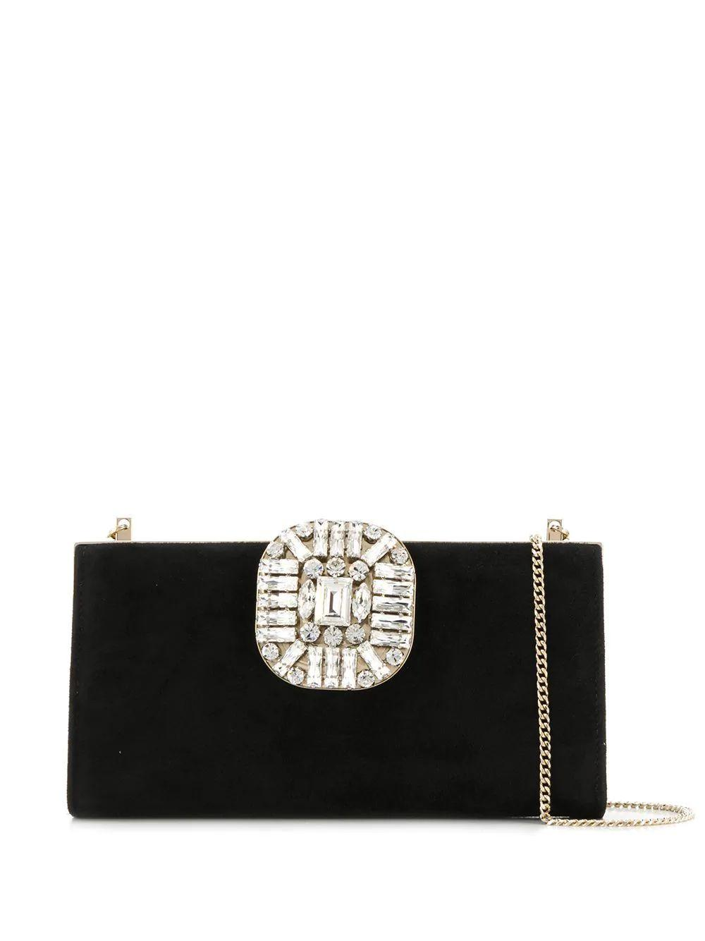 Suede Clutch With Crystal Item # LEONIS-SUE