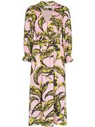 Long Sleeve V Neck Cotton Begonia Corallina Dress