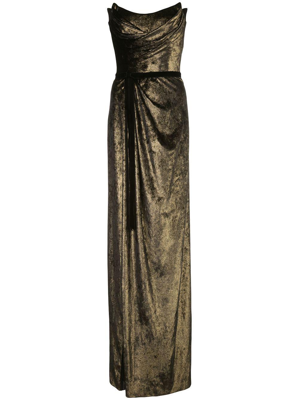 Strapless Foiled Velvet Gown Item # N35G1107