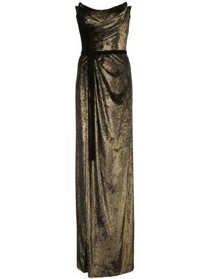 Strapless Foiled Velvet Gown