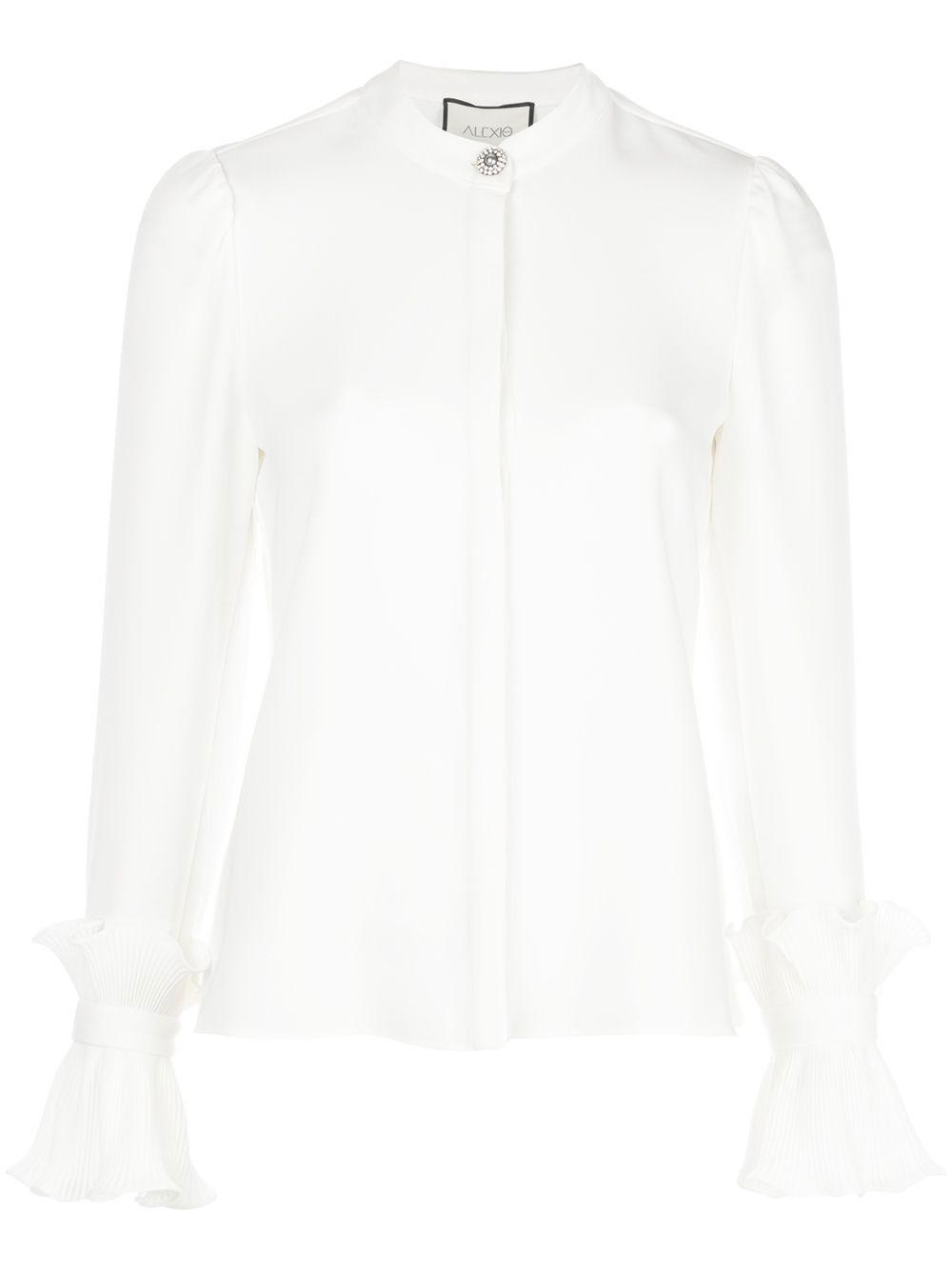 Meera Silk Buttondown Ruffle Cuff Blouse
