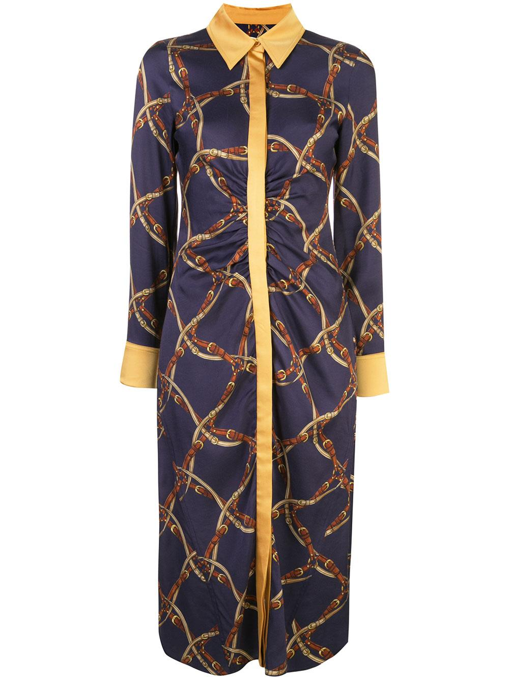 Long Sleeve Saddle Print Ruched Shirt Dress