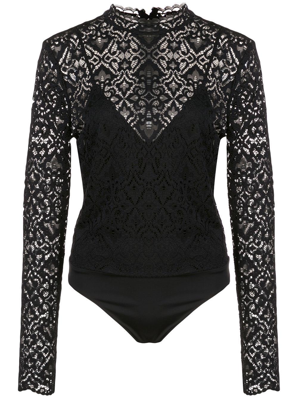 Long Sleeve Multimedia Lace Cami Bodysuit Item # 120-8018-A