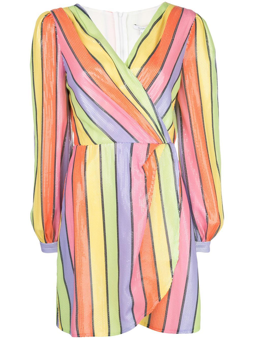 Sequin Stripe Faux Wrap Mini