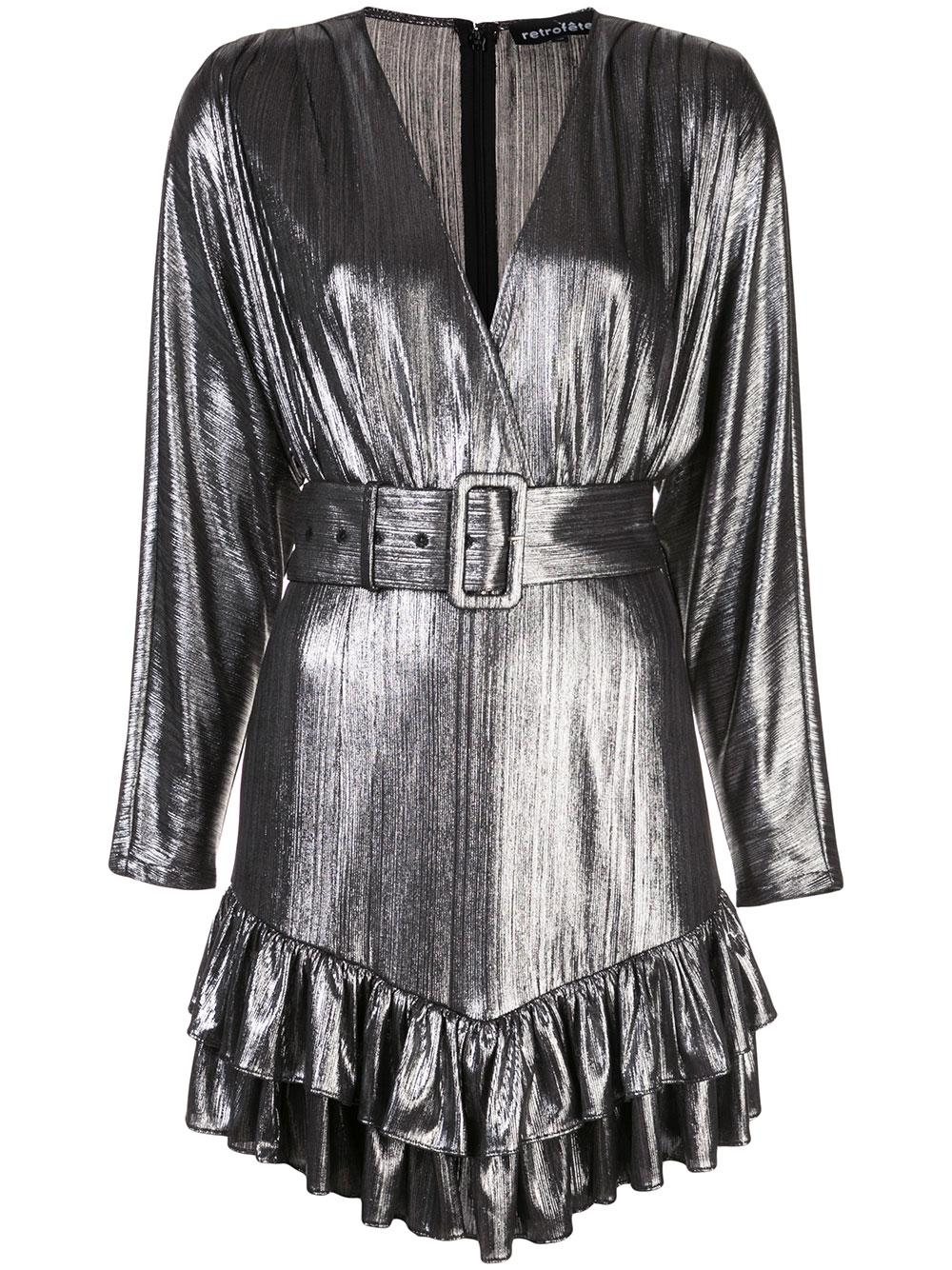 Maureen Long Sleeve Belted Dress With Ruffle Hem Item # HL20-2420