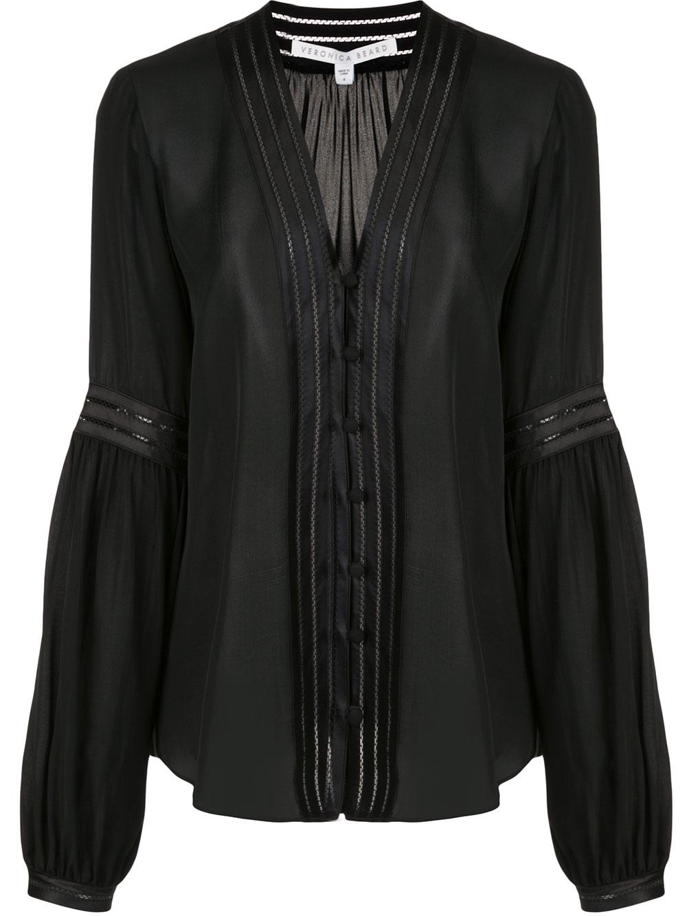 Yumi Long Sleeve Button Up V- Neck Blouse