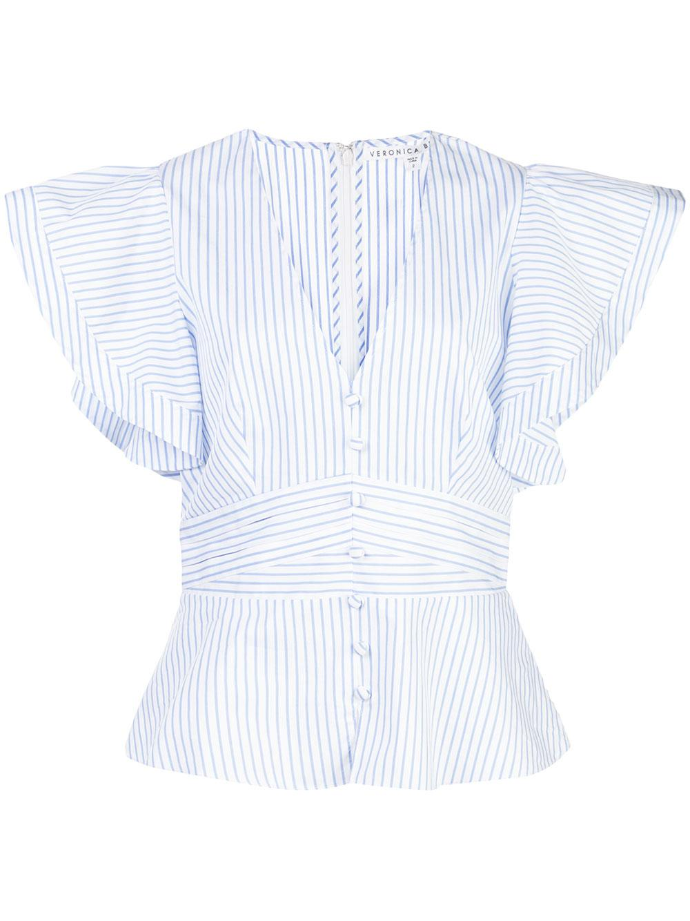 Hand Striped Button Up Blouse With Ruffle