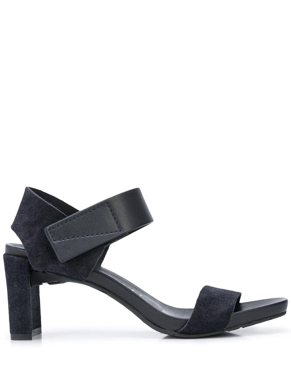 Suede Block Heel With Velcro Ankle Strap