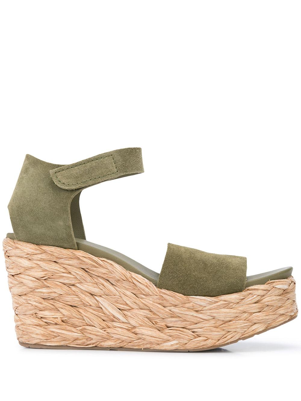 Wedge Espadrille Platform Sandal With Velcro