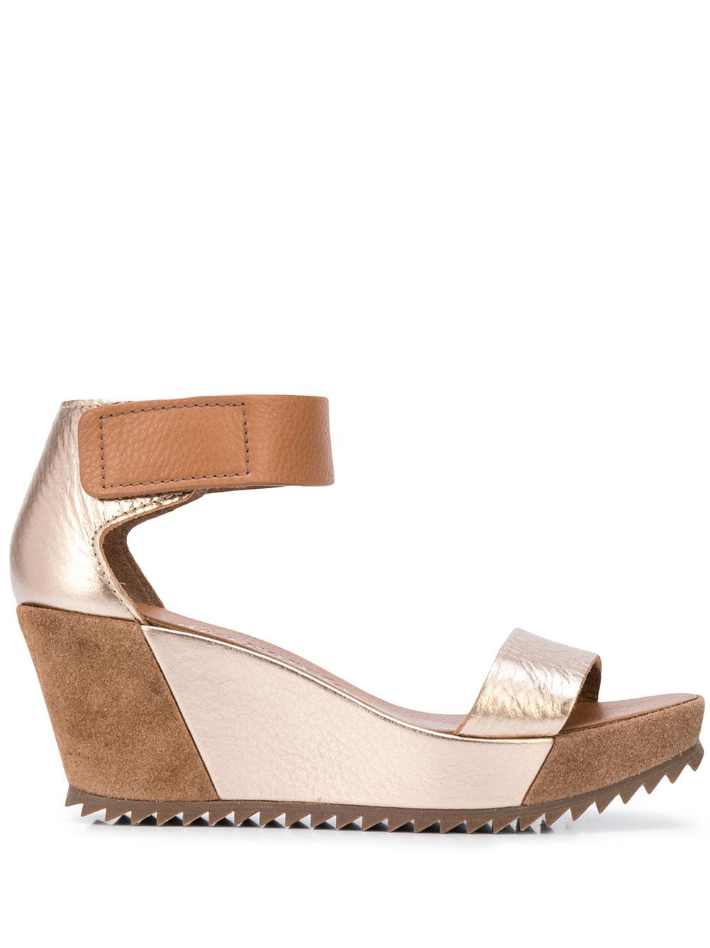 Lame Platform Wedge Sandal With Ankle St