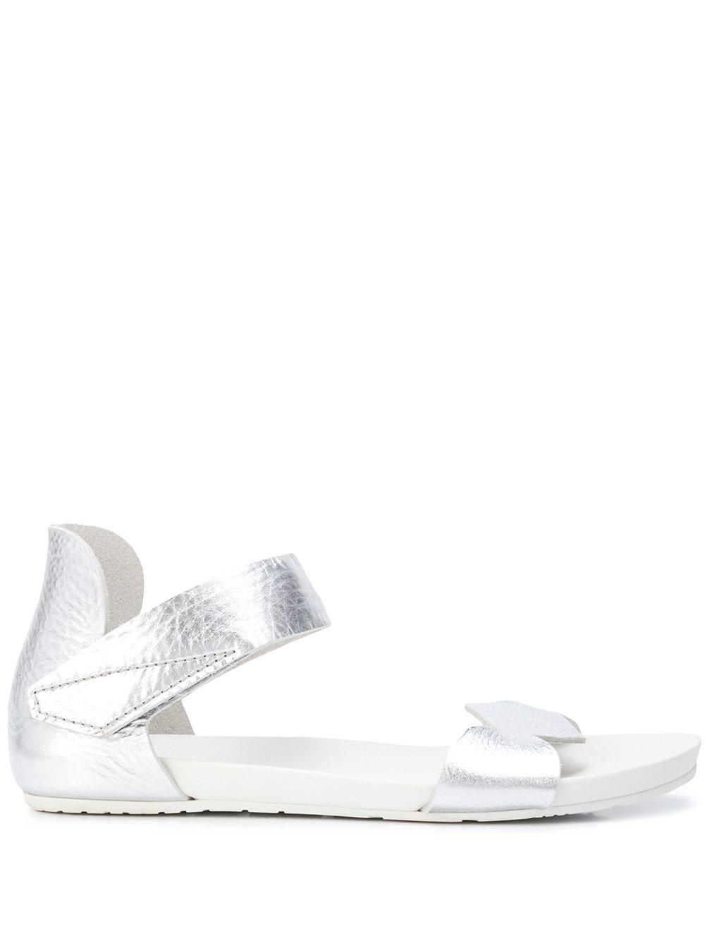 Lame Flat Sandal With Ankle Strap