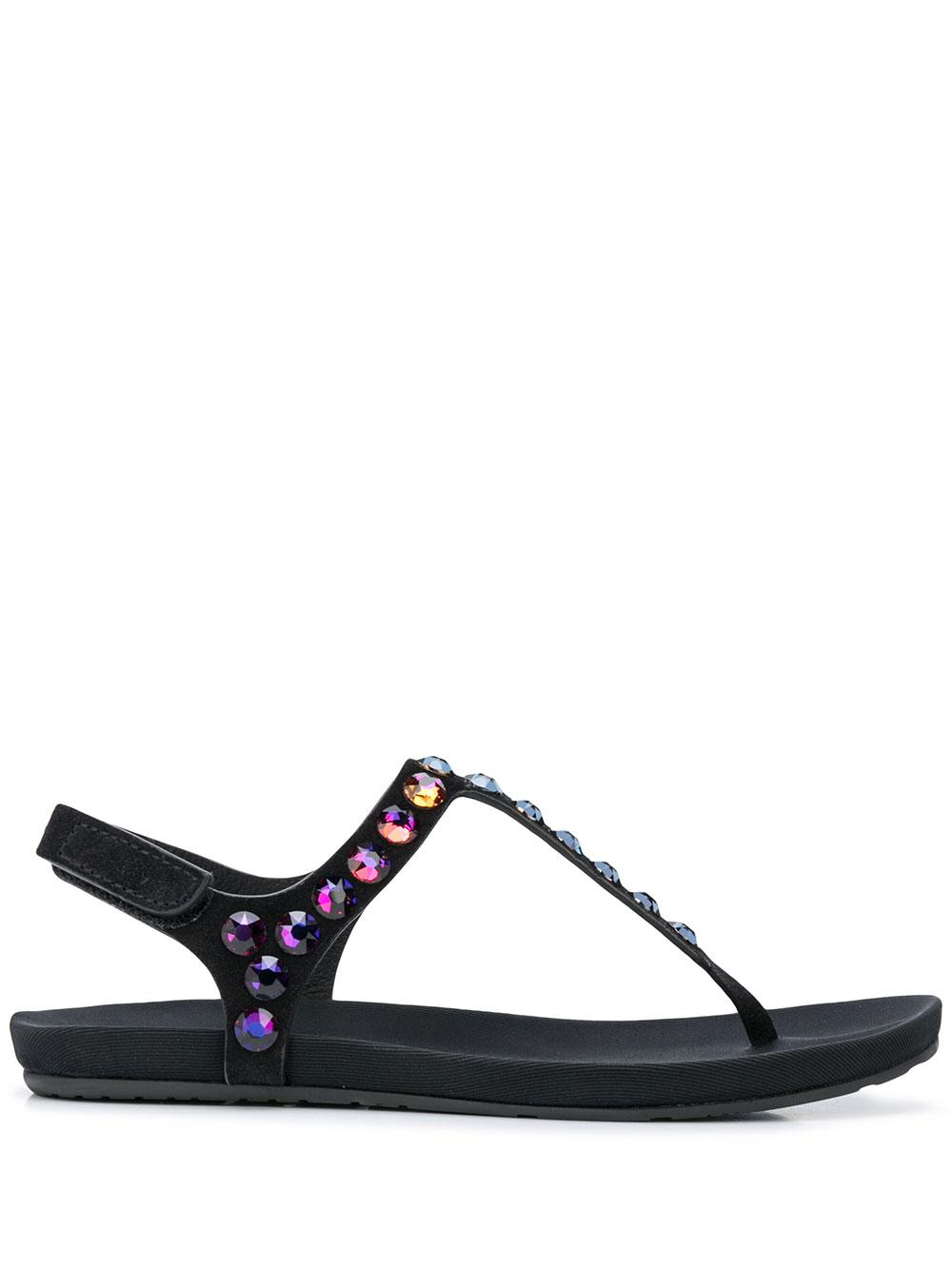 Flat Thong Sandal With Crystals Item # JUDITH-MC