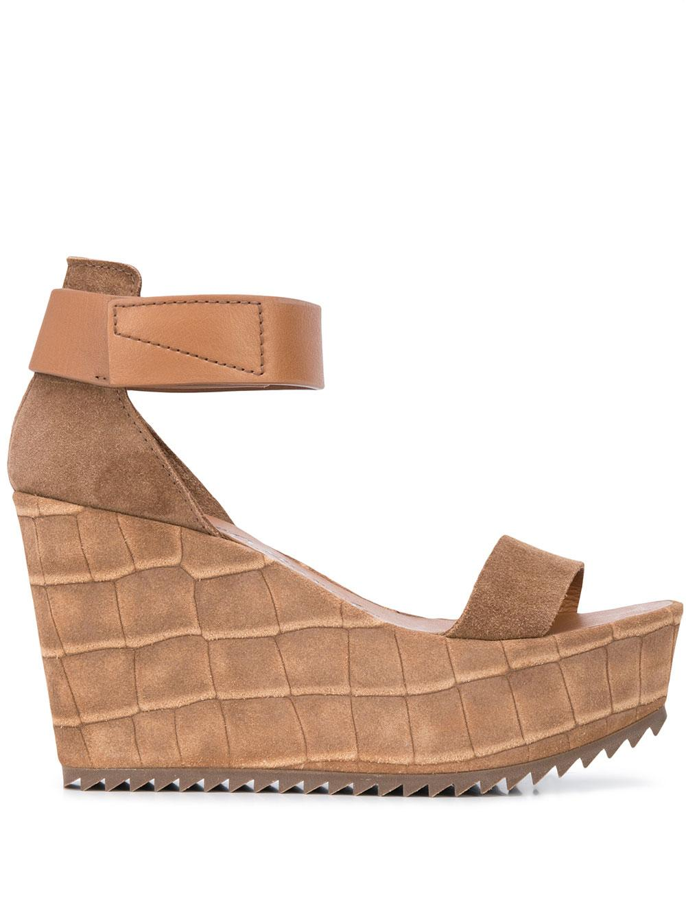 Croc Emb Platform Wedge Sandal With Ankle