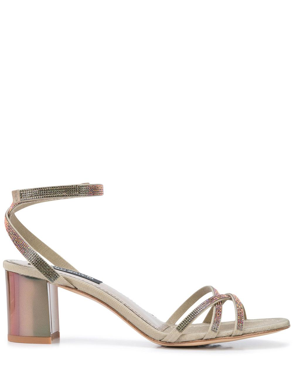 Strappy Block Heel Sandal With Crystals