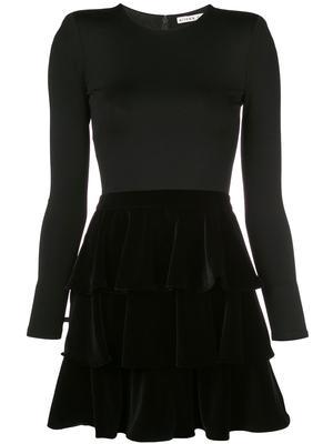 Jalen Tiered Velvet Skirt Mini Dress