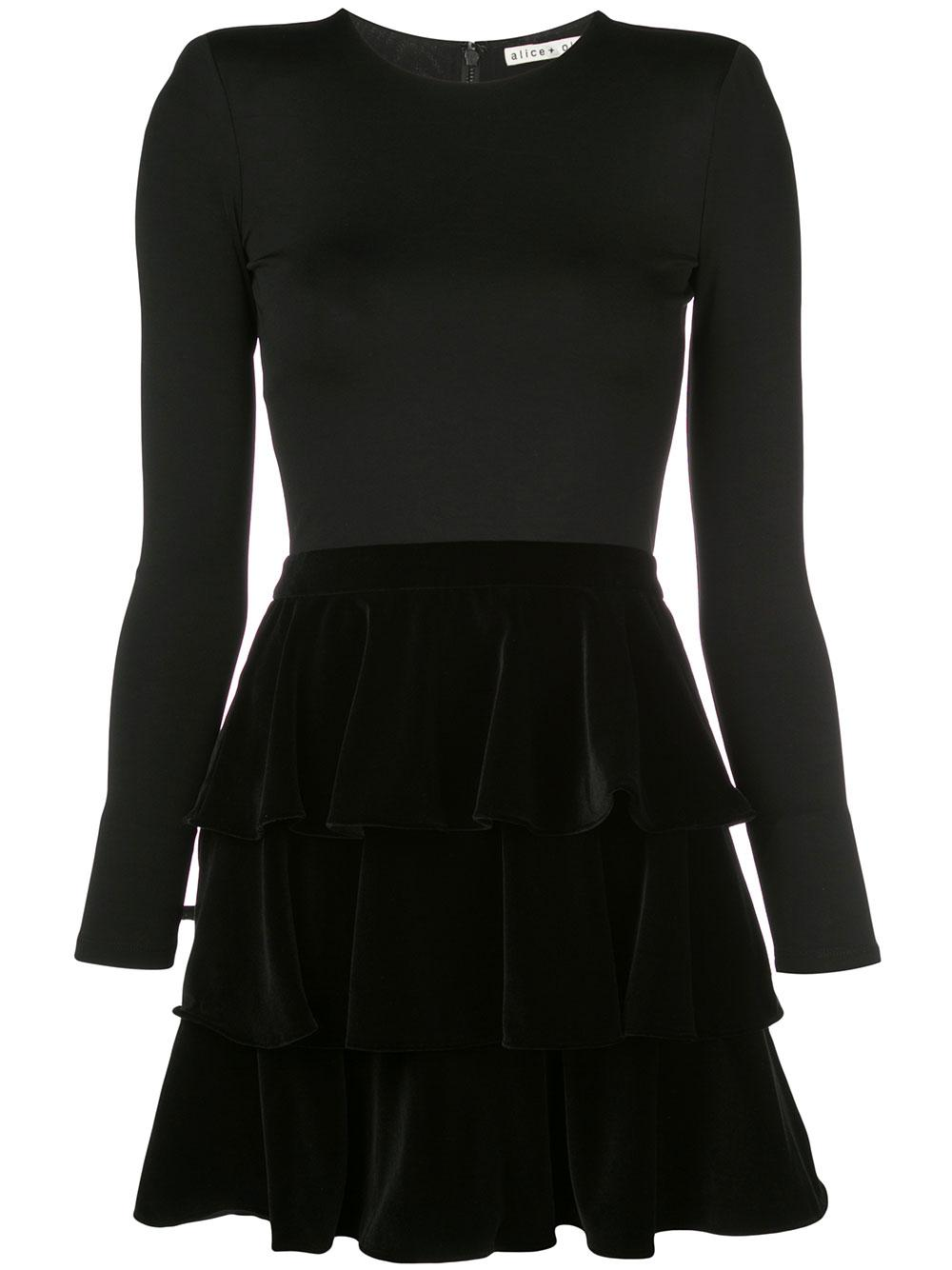 Jalen Tiered Velvet Skirt Mini Dress