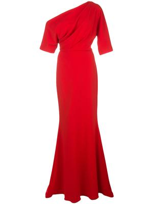 3/4 Sleeve One Shoulder Gown