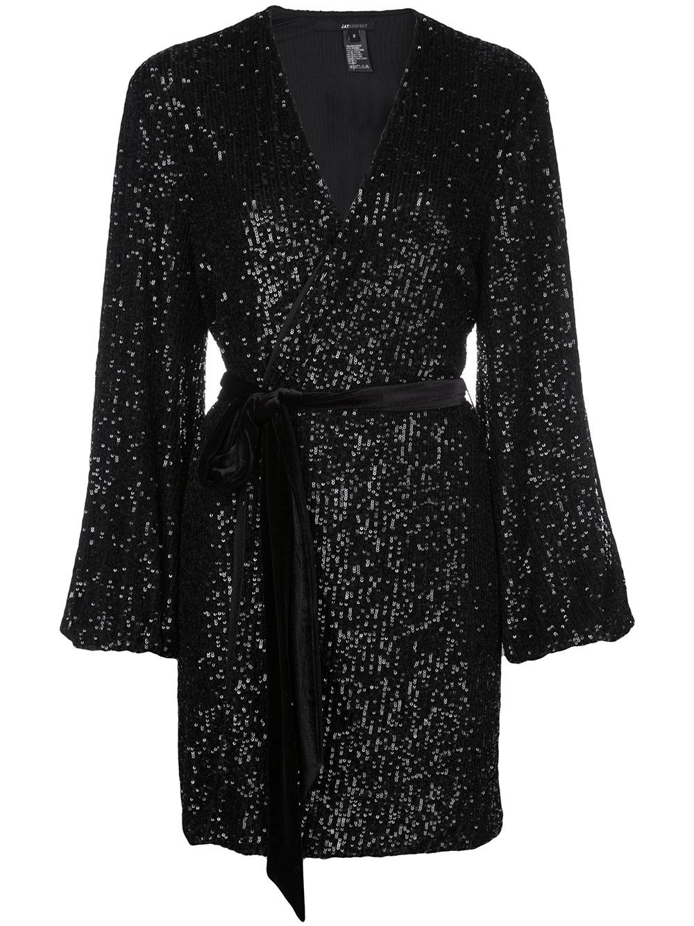 Long Sleeve Wrap Dress With Velvet Belt