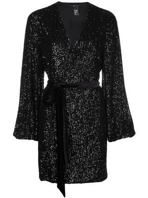 Long Sleeve Wrap Dress With Velvet Belt