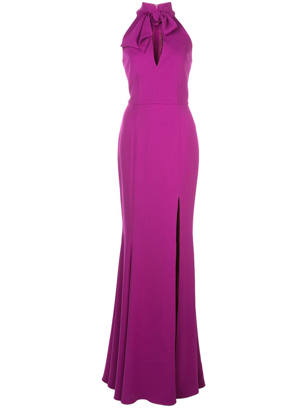 Tie High Neck Gown With Slit