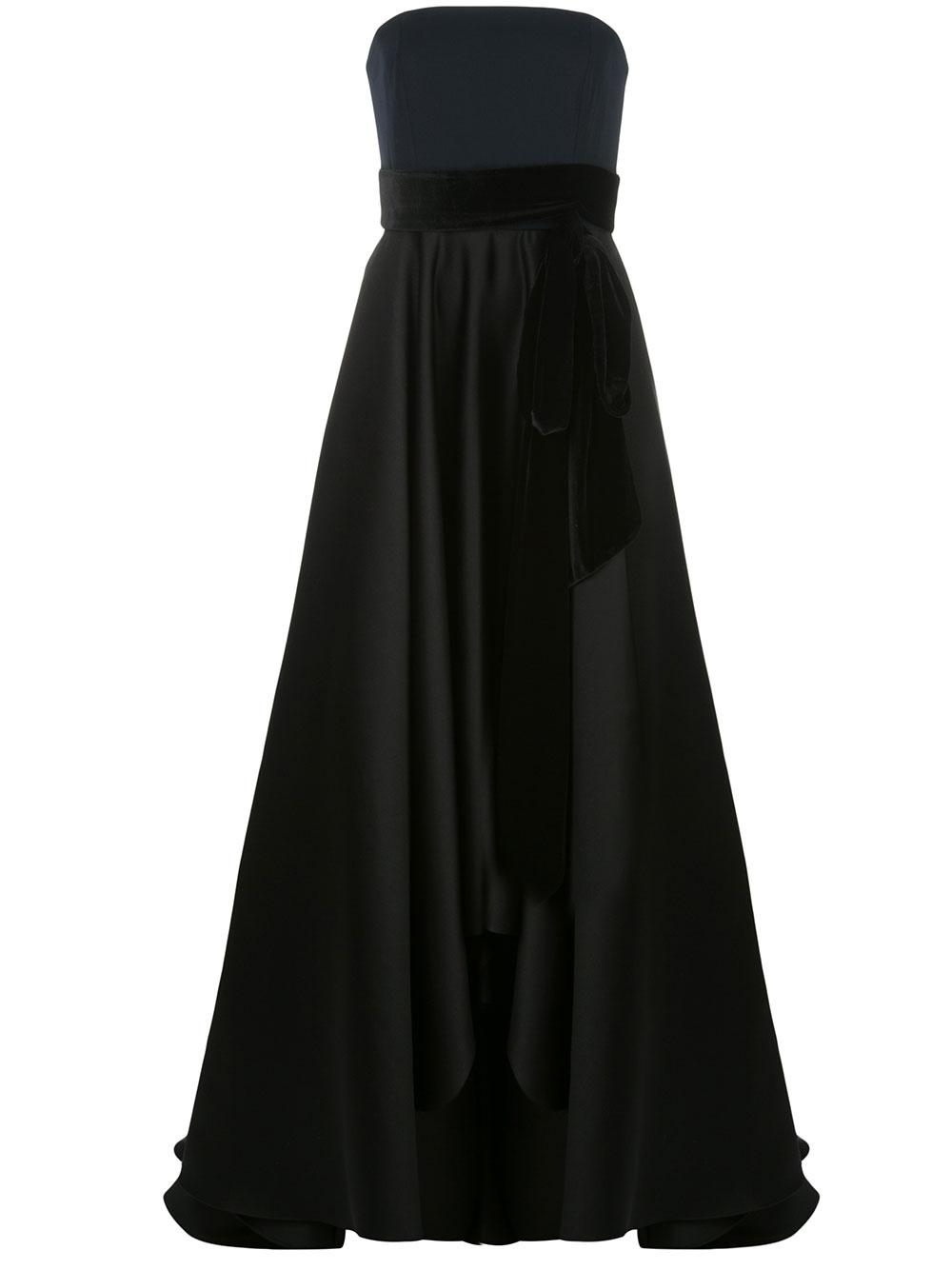 Strapless Colorblock Gown With Velvet Bow