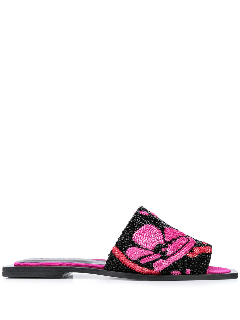 Sequin Bead Flat Slide Sandal