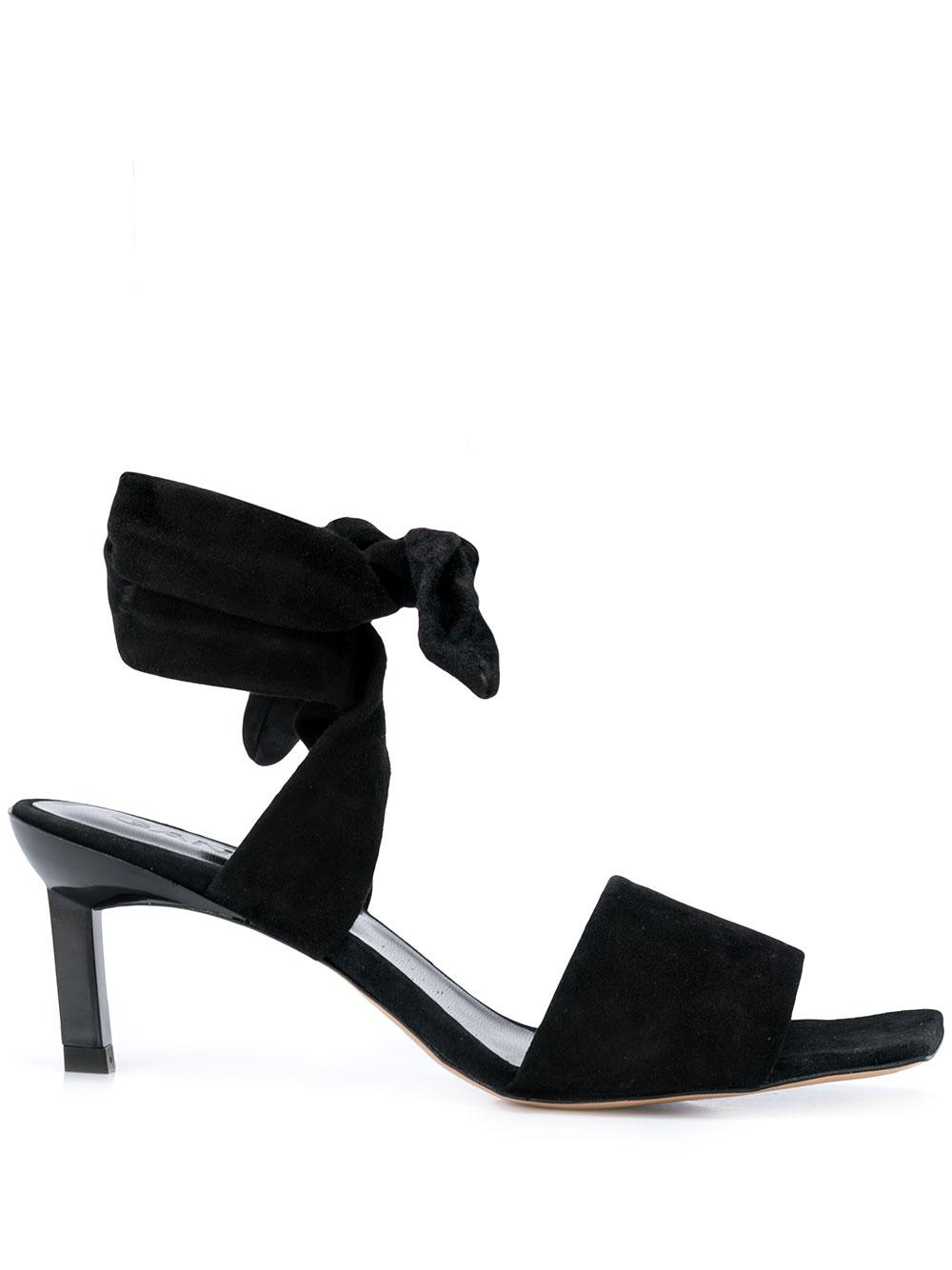 Suede Kitten Heel Sandal With Ankle Ties
