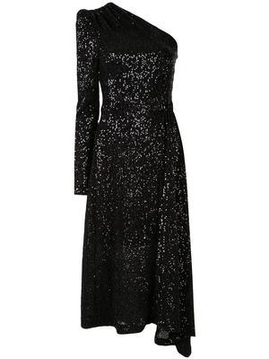 Mona Sequin One Sleeve Midi Dress
