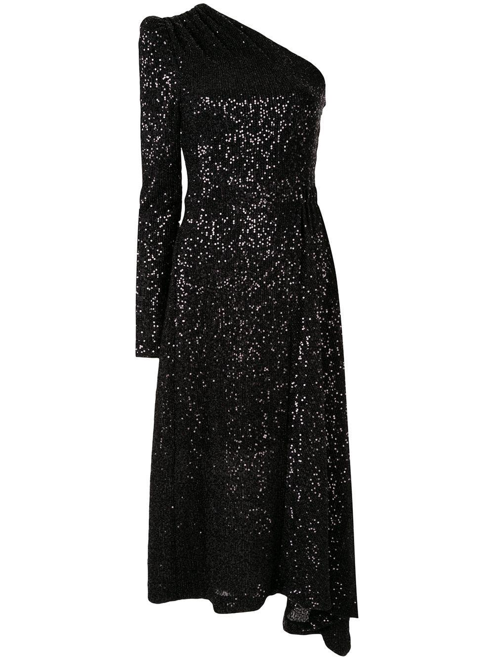 Mona Sequin One Sleeve Midi Dress