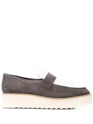 Suede 45MM Platform Slip-On With Shearling
