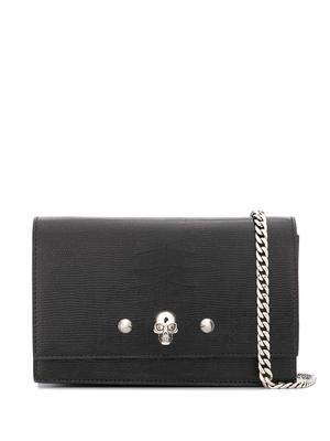 Leather Skill/Studs Small Bag With Chain