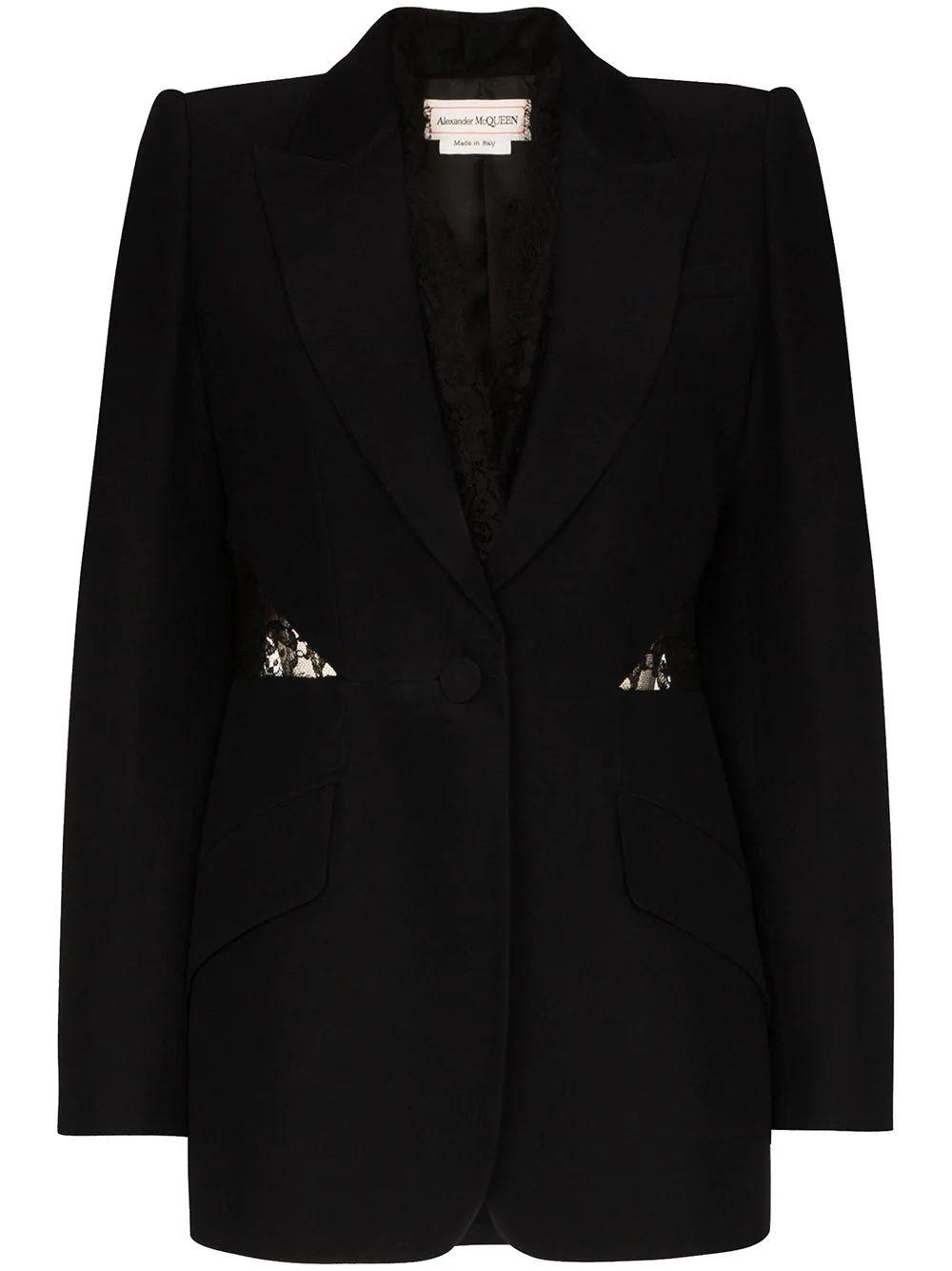 Crepe Blazer With Lace Detailing Item # 607334QEAAA