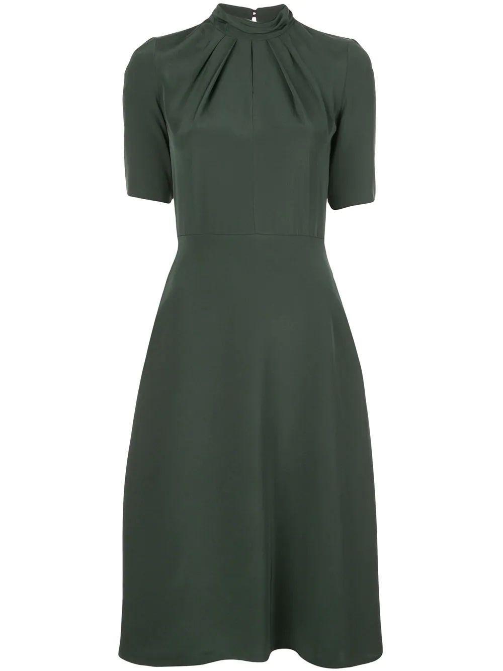 Elbow Sleeve Crepe Twist Neck Dress Item # R20723SB