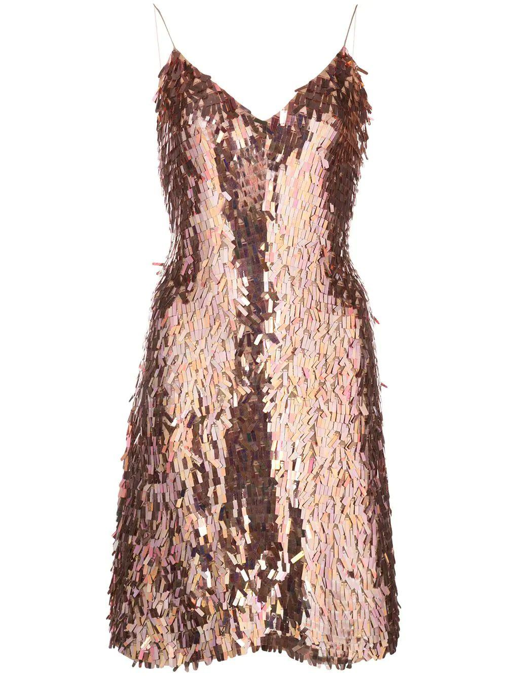Contessa Fringe Sequin Strappy Dress Item # CC911E30521