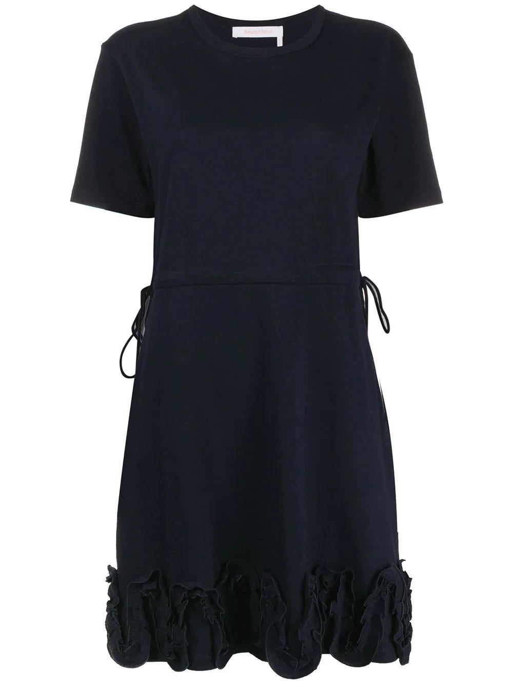 Short Sleeve Emb Tee Dress With Drawstring Waist