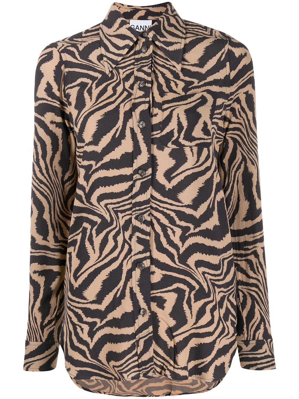 Animal Print Crepe Buttondown Shirt