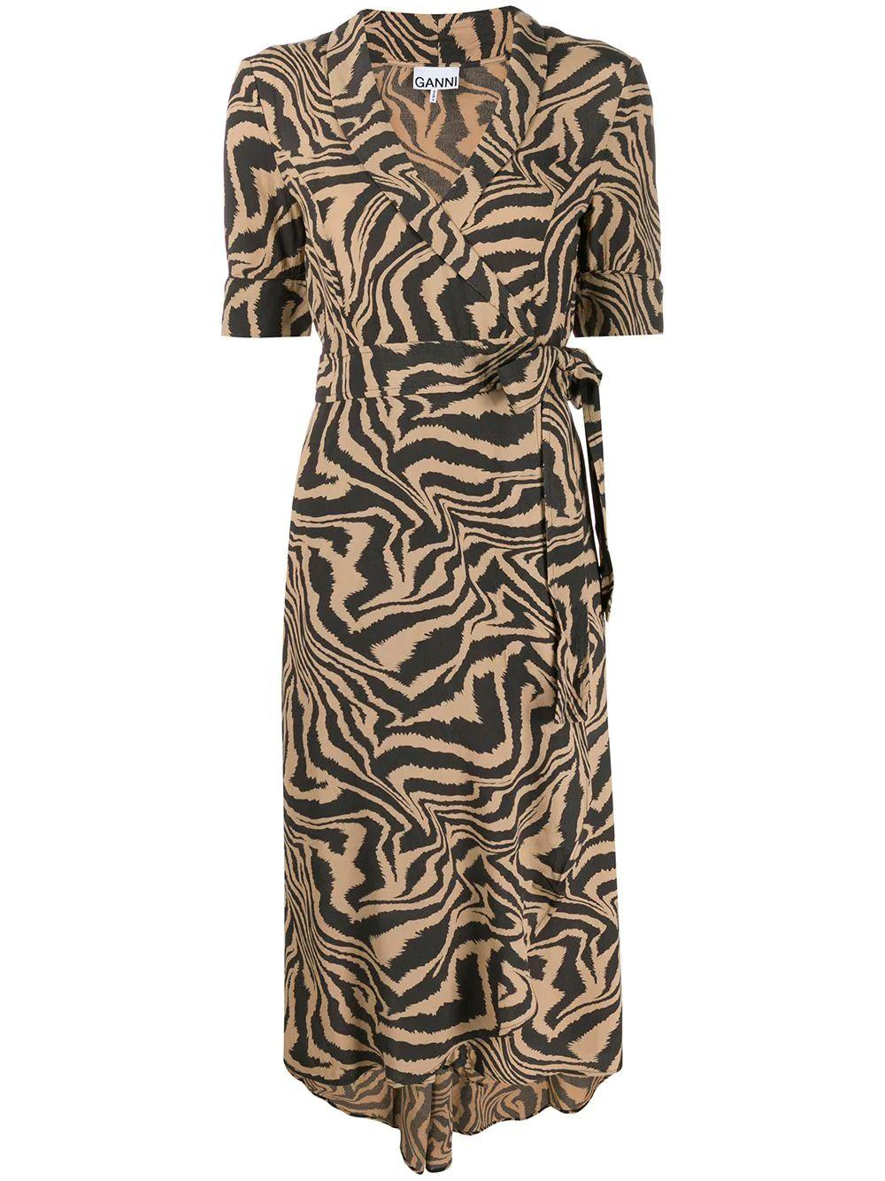 Animal Print Crepe Wrap Midi Dress
