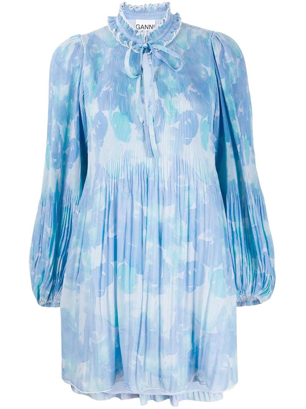 Pleated Georgette Shift Dress