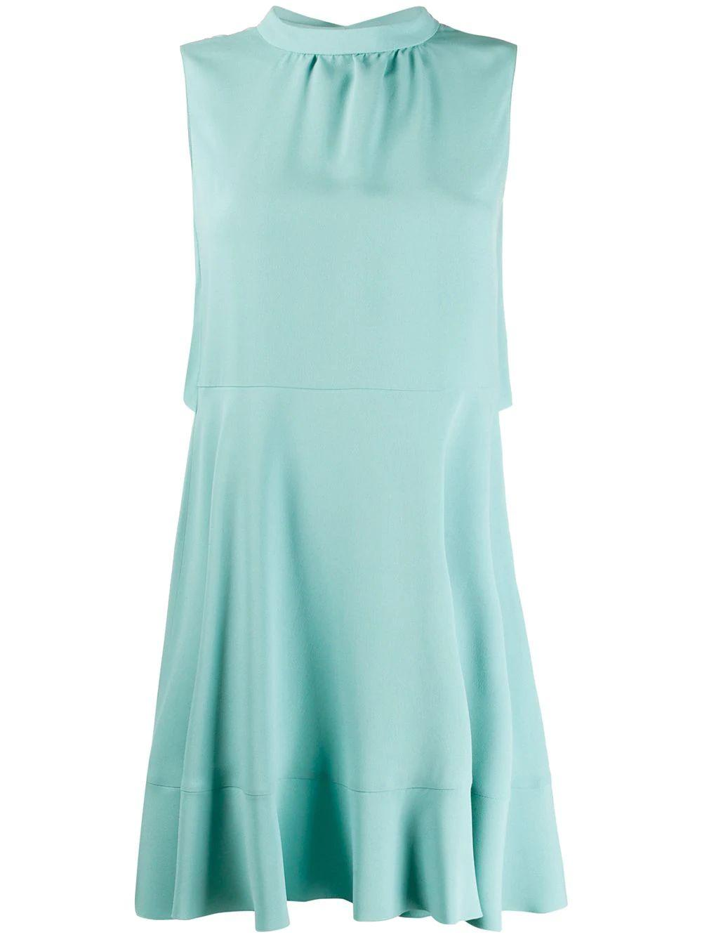 Sleeve Less Crepe Satin Dress With Ruffle Back