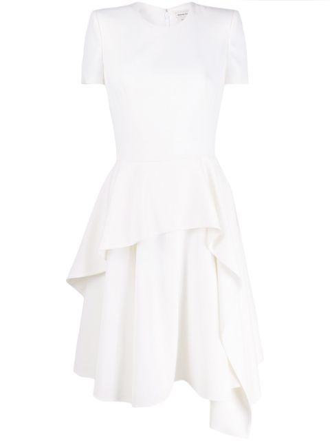 Short Sleeve Wool Dress With Asymmetrical Skirt Item # 609168QJAAC