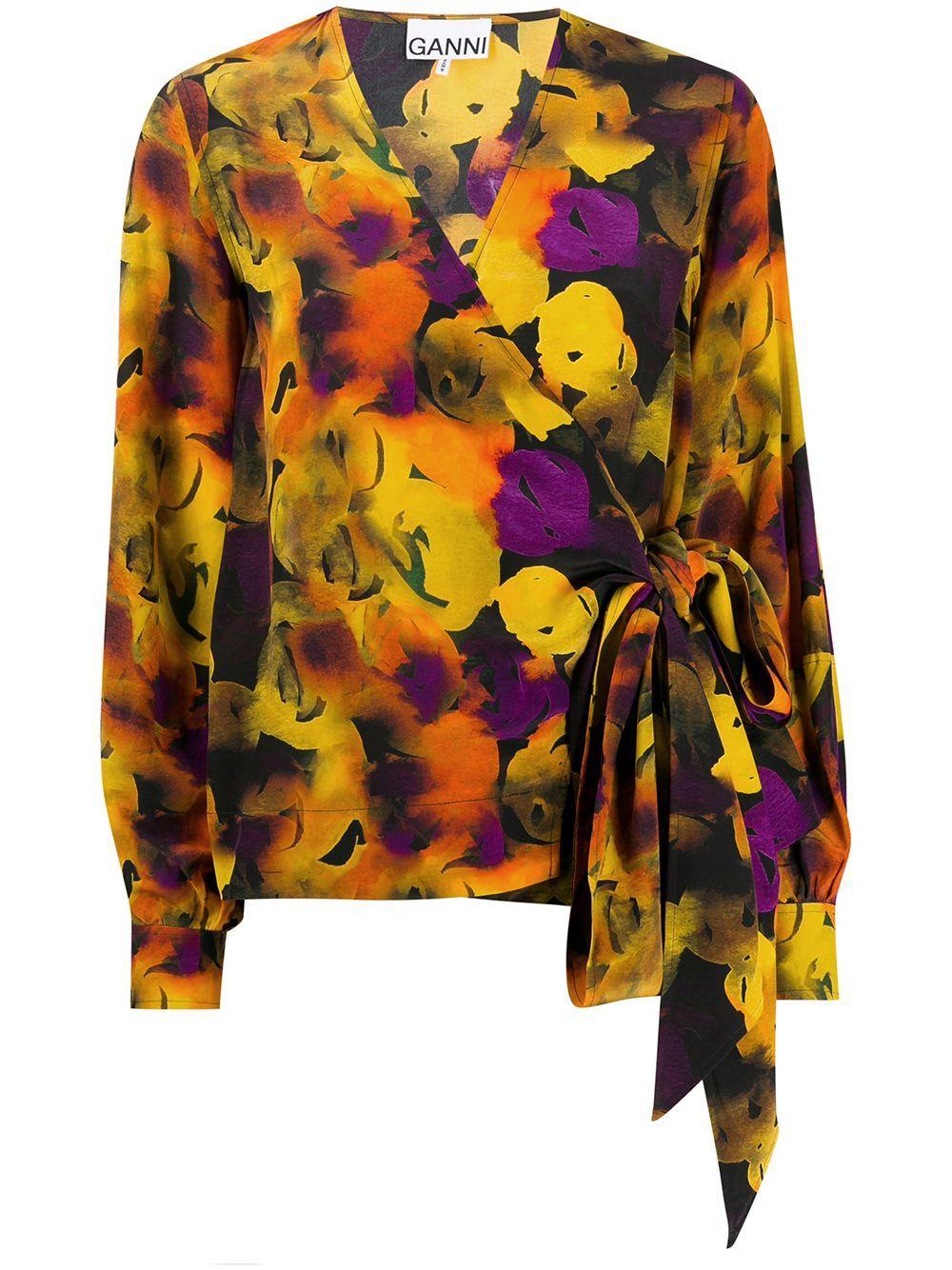 Silk Mix Lemon Print Wrap Tie Top Item # F4306
