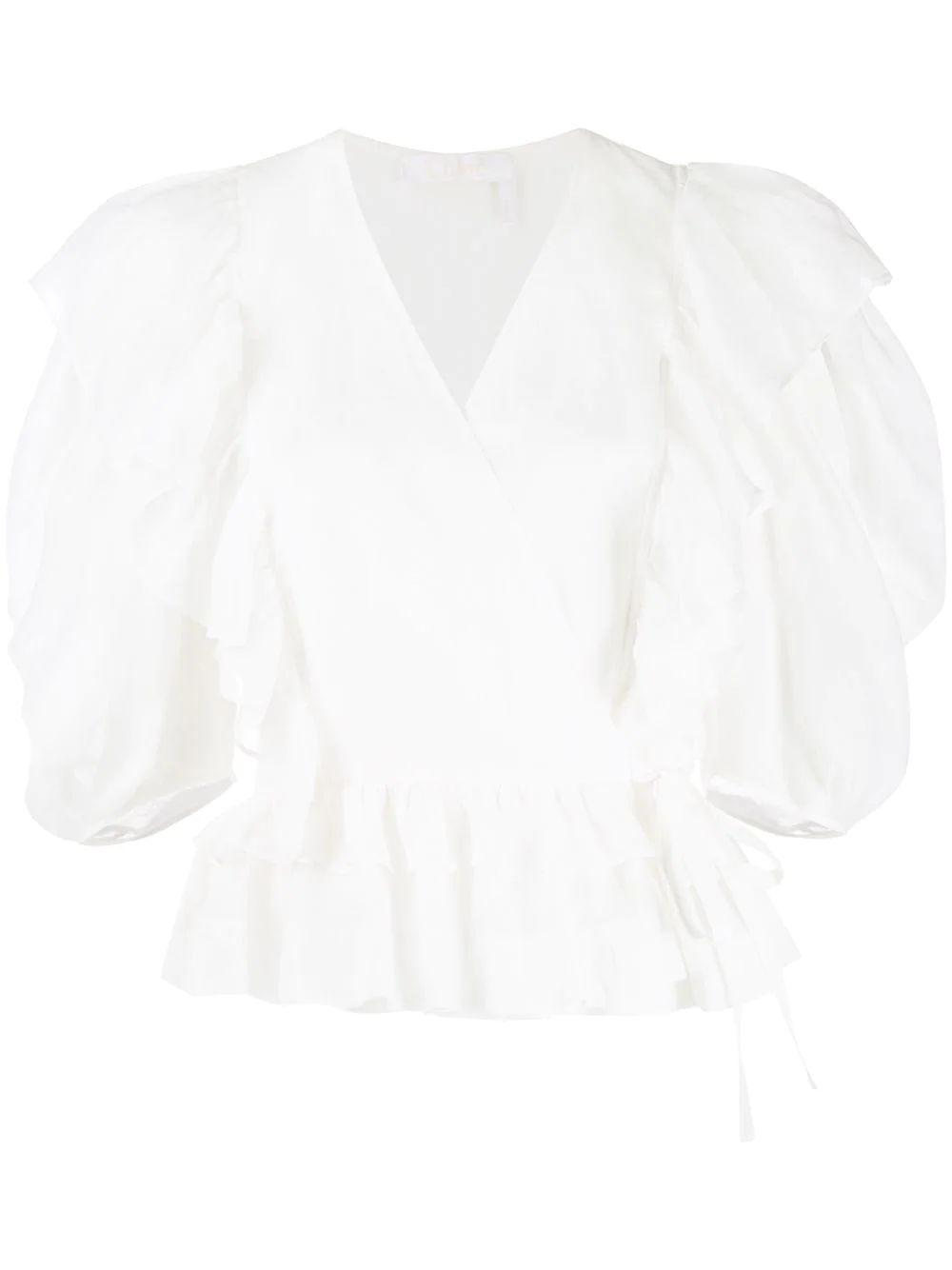 3/4 Sleeve Ramie Peplum Blouse With Ruffle De