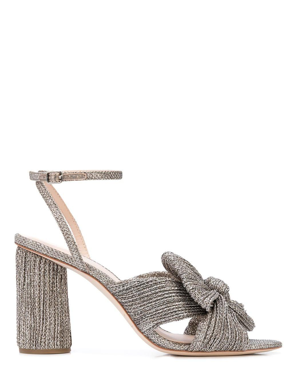 Glitter Knot Mule With Ankle Strap