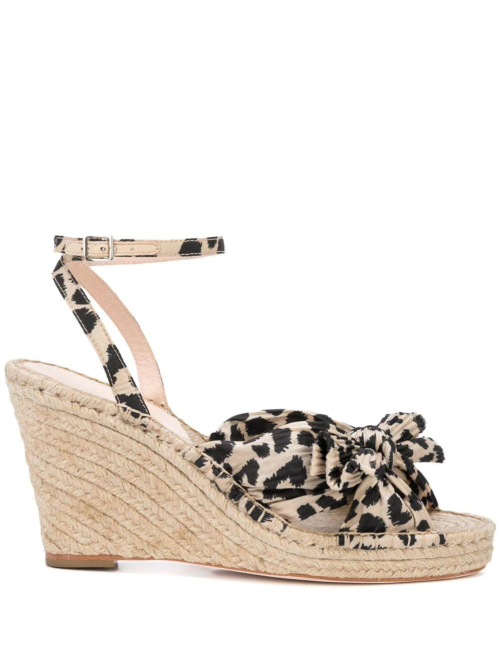 Pleated Knot Espadrille Wedge With Ankles