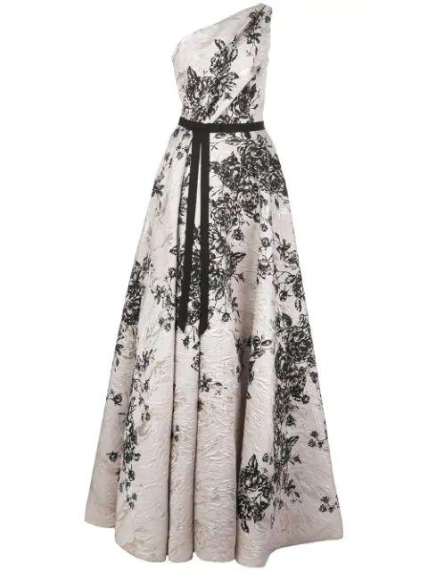 One Shoulder Printed Metallic Jacquard Gown Item # N36G1138