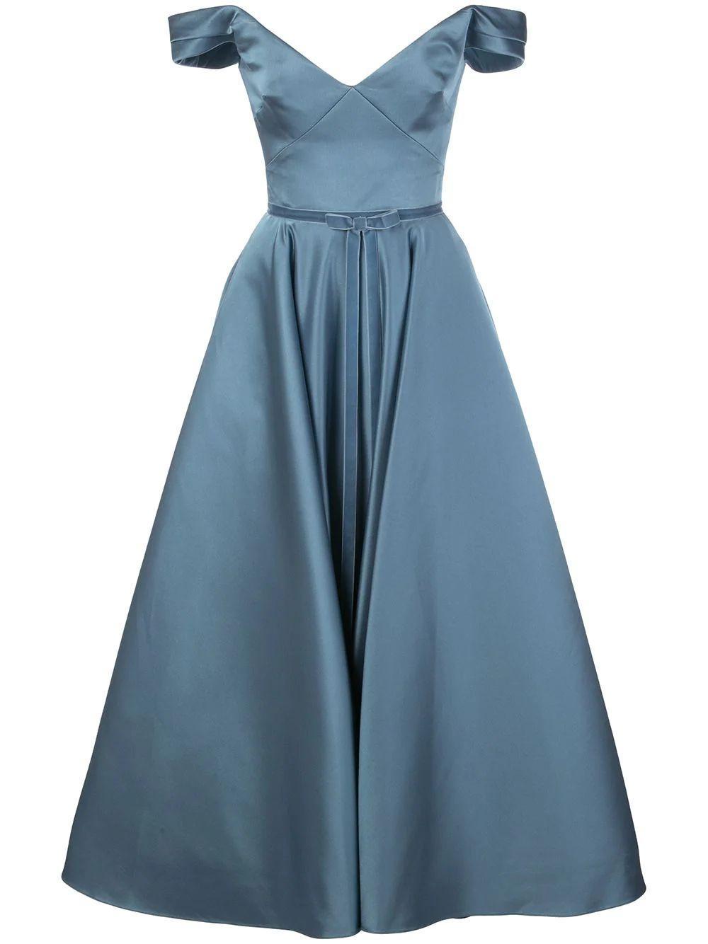 Off The Shoulder Tea Length Gown Item # N36M1159