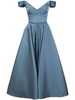 Off The Shoulder Tea Length Gown